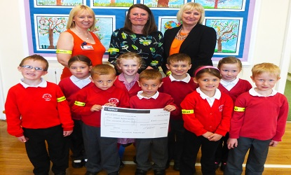 Left to right: Back row: Joanie Haycock (Nursery Teacher), Debbie Ward (Stelrad) and Pam Belnavis (Head Teacher)  Front row: Pupils at the school Callum Smith; Troy Wales; Harry Reid; Alyssa Smith; George Brabham; Charlotte Tepper; Grace Kelly; Alfie Green and Lily Brabham