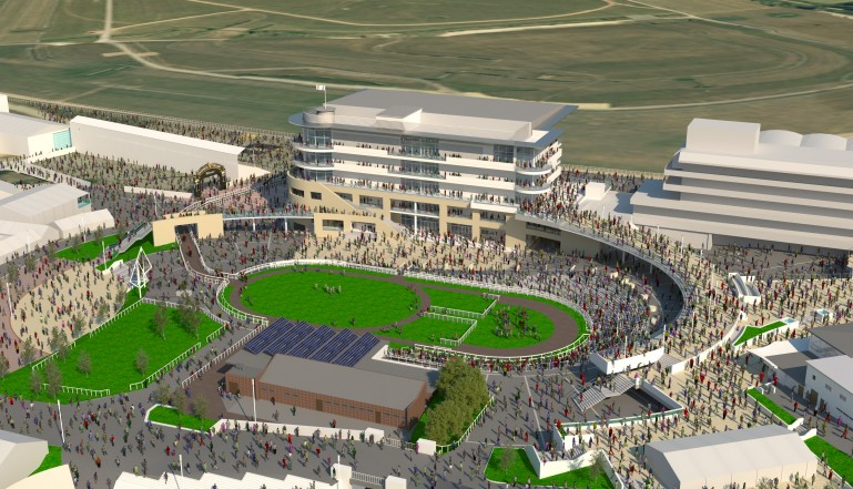 A CGI of the new redevelopment as it will look at next year's Gold Cup meeting