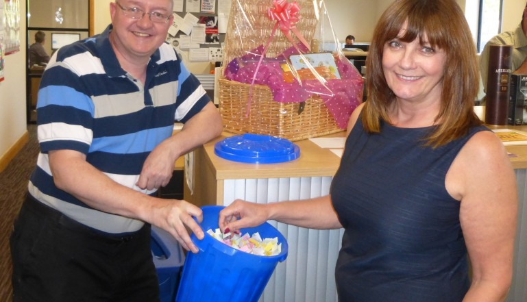 Martin Litchfield, Credit Control Team Leader and Margaret Bitcliffe, Contract Support Team making the big draw!!