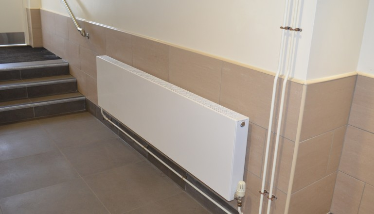 A Stelrad Planar in the gents loos in the new grandstand
