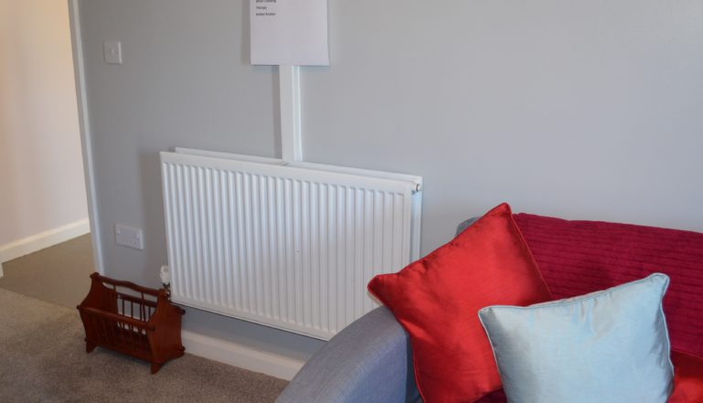 One of the radiators in the living room in the bungalow, used to help young people to cope with living on their own.
