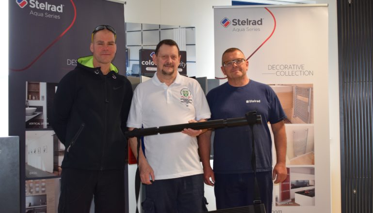 Adam Mars from Stelrad, Alan Kirton, Head Coach Rotherham Metro and Stelrad's Russ Jenkinson at the hand over of the new wedges!