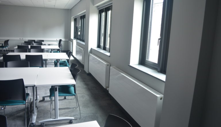 Some of the horizontal Compact with Style radiators in one of the teaching rooms in the new building.