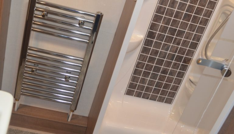 The Classic Mini Towel Rail in one of the new Lunar range of caravans on show at the recent Caravan and Motorhome Show at the NEC