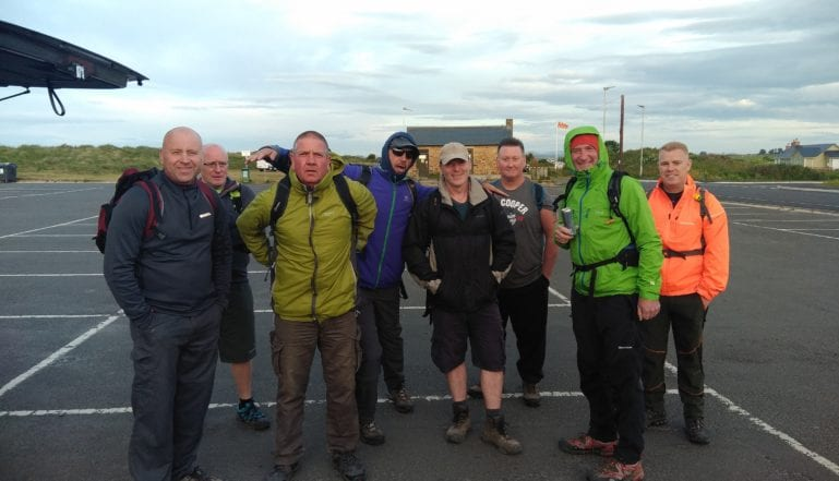 The walkers about to set off  for Berwick-upon-Tweed