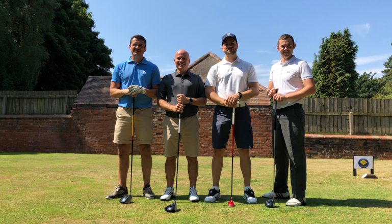 Stelrad's Joel Cumberbatch, third from left with the fourball team that helped raise funds for charity