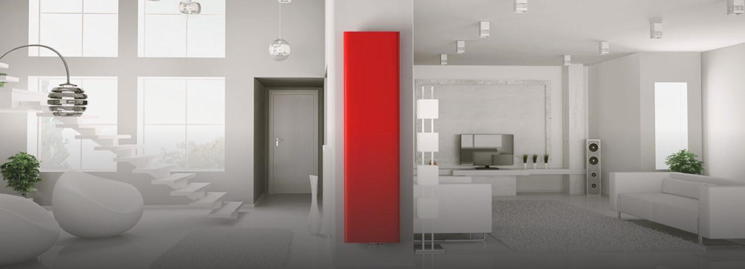 Stelrad vertical red radiator