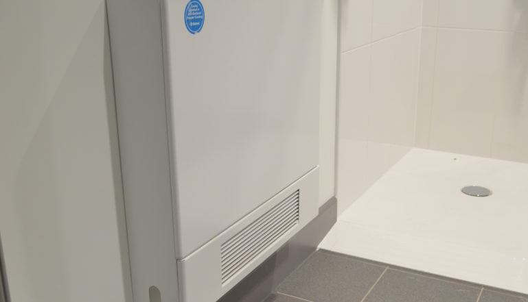 A Stelrad LST radiator can be found in each of the building's shower rooms.