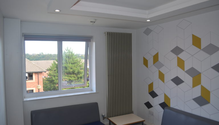 The students common room area  - on each floor of the accommodation featuring the new Stelrad radiators